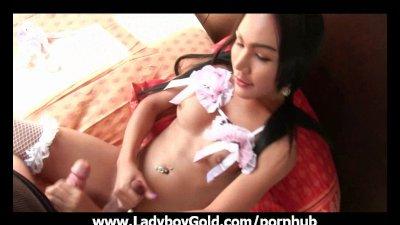 Ladyboy Tuk Wrapped Up Cock Gape
