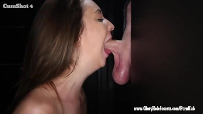 Gloryhole Secrets sexy Layla sucking strangers hard cock