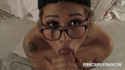 Casting Aubrey Luna in POV blowjob interview