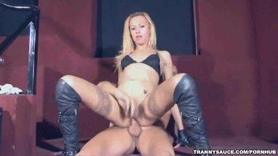 Shemale Jenifer sucks cock and gets fucked anally